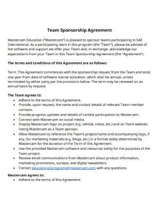 Team Sponsorship Agreement