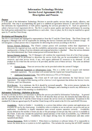 Technology Division Service Level Agreement