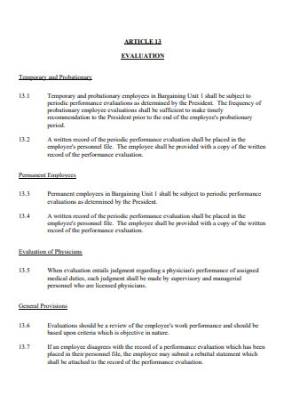 Temporary and Probationary Evaluation