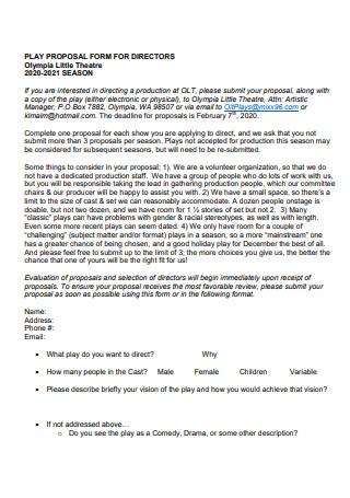 Theatre Directors Proposal Form