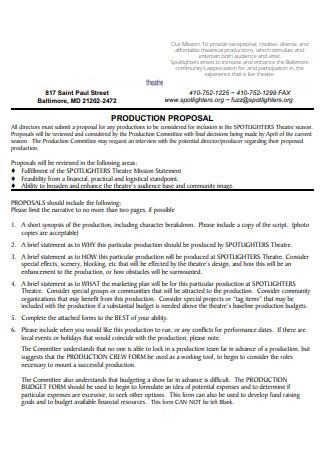 Theatre Production Proposal