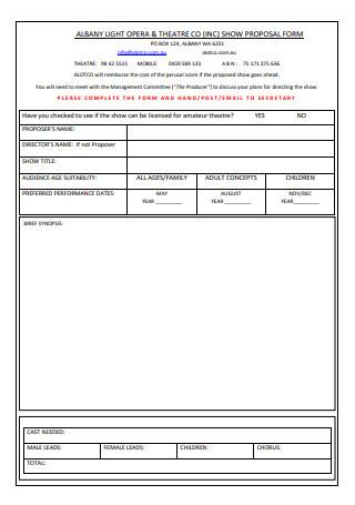Theatre Show Proposal Form