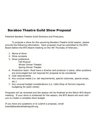 Theatre Show Proposal