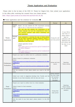 Thesis Application and Evaluation