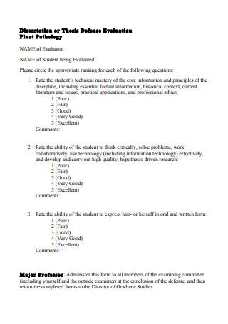 Thesis Defense Evaluation