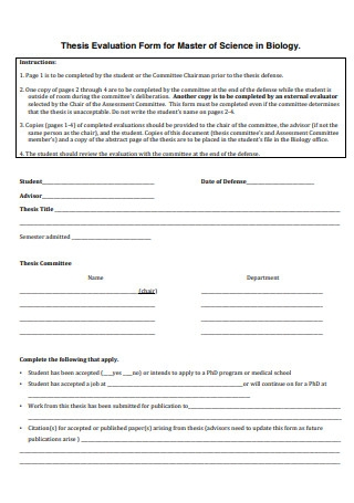 Thesis Evaluation Form For Master of Science in Biology