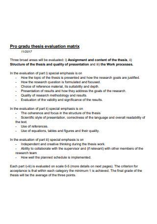 Thesis Evaluation Matrix