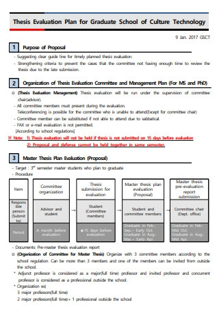 Thesis Evaluation Plan
