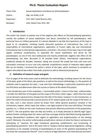 Thesis Evaluation Report