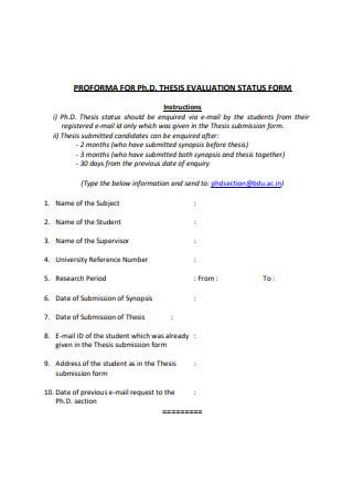 Thesis Evaluation Status Form