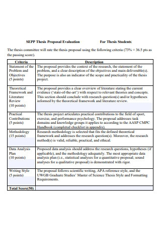 Thesis Proposal Evaluation For Students