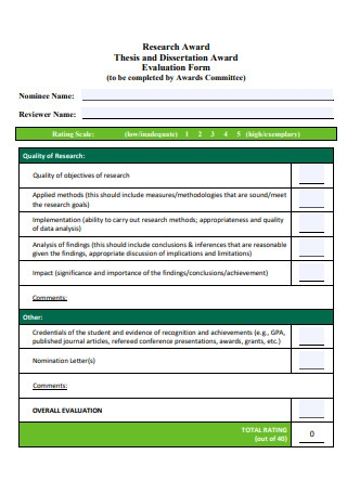 Thesis and Dissertation Award Evaluation Form