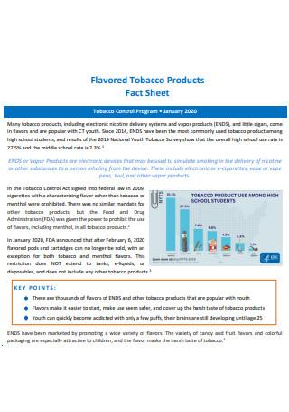 Tobacco Product Fact Sheet