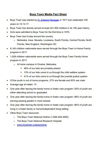 Town Media Fact Sheet