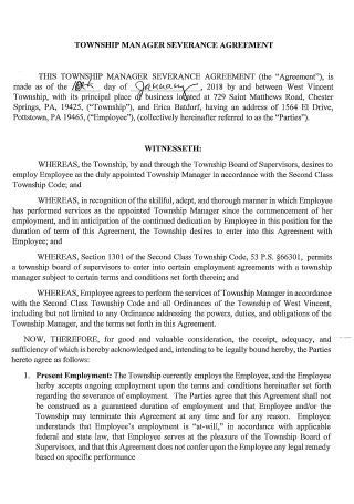 Township Manager Severance Agreement