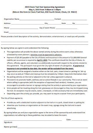 Trail Fest Sponsorship Agreement