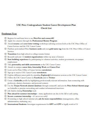 Undergraduate Student Career Development Plan Checklist