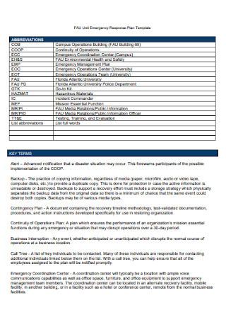 Unit Emergency Response Plan Template