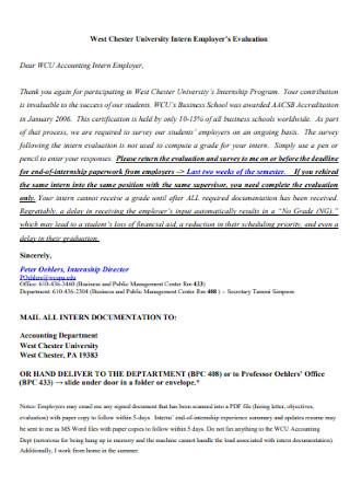 University Intern Employers Evaluation
