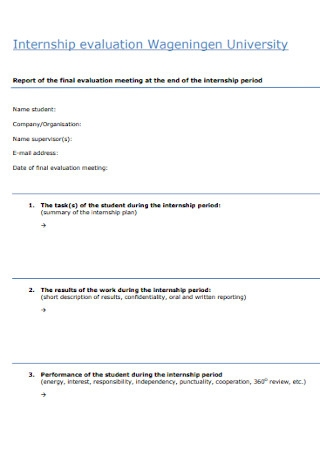 University Internship Evaluation