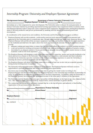 University and Employer and Sponsor Agreement