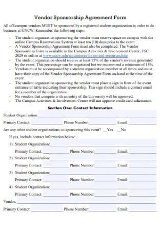 Vendor Sponsorship Agreement Form