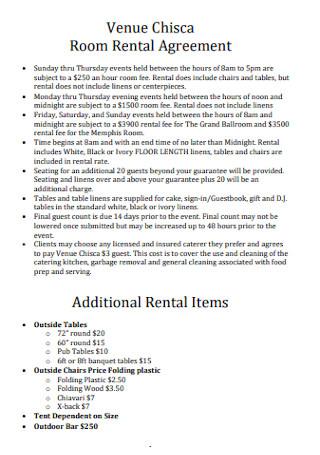 Venue Room Rental Agreement