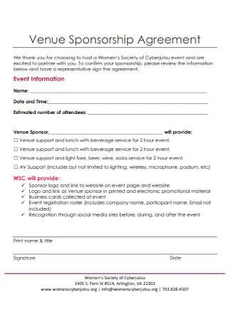 Venue Sponsorship Agreement