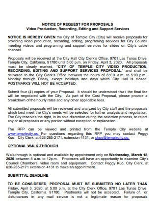 Video Production Notice of Proposal