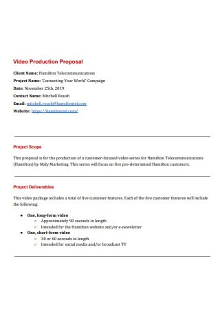 Video Production Proposal Example