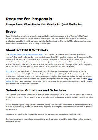 Video Production Vendor Proposal