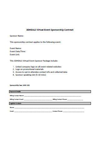 Virtual Event Sponsorship Contract