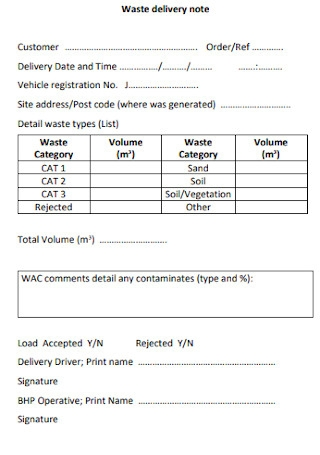Waste Delivery Note