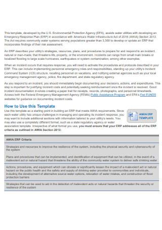 Water System Emergency Response Plan