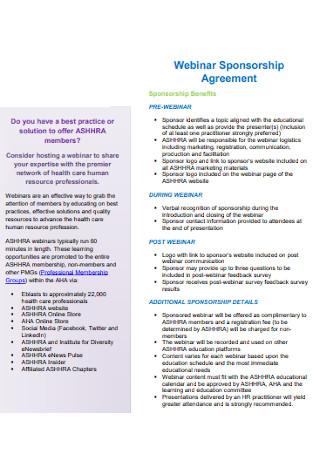 Webinar Sponsorship Agreement