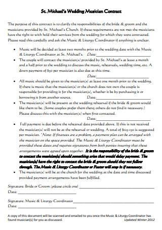 Wedding Musician Contract