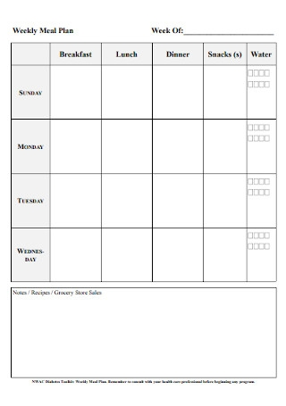 Weekly Meal Plan Format