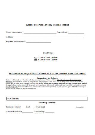 Wood Chips Delivery Order Form