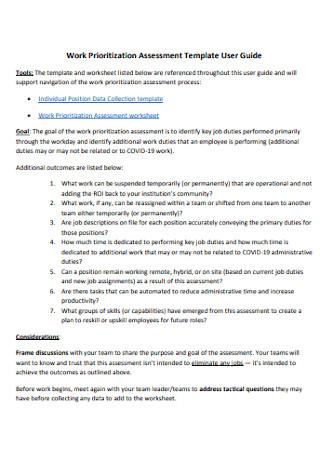 Work Prioritization Assessment Template