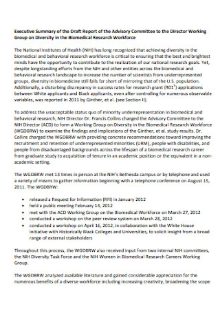 Working Group Executive Summary Report