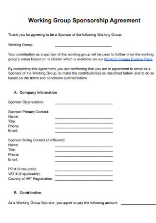 Working Group Sponsorship Agreement