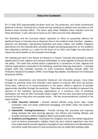 Workshop Executive Summary Report