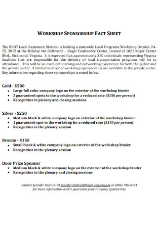 Workshop Sponsorship Fact Sheet