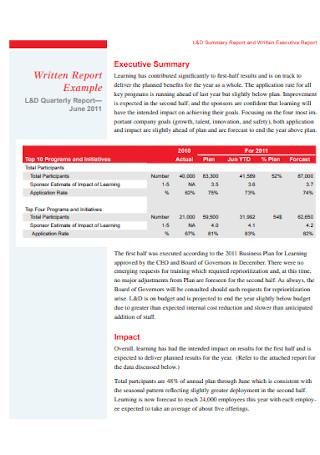 Written Executive Summary Report
