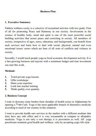 Yoga Business Plan Example