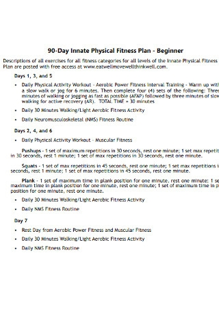 90 Day Physical Fitness Plan