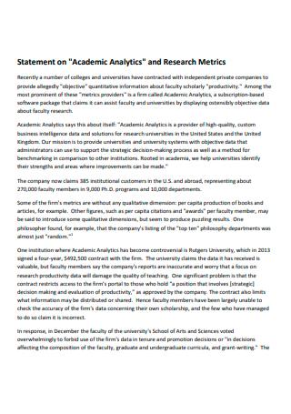 Academic Analytics Research Statement