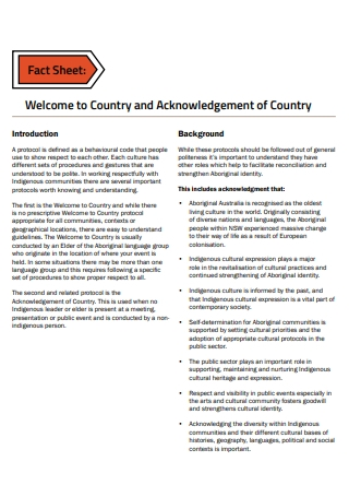 Acknowledgement of Country Fact Sheet
