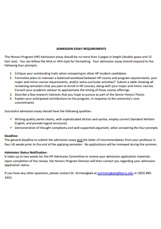 Admission Essay Requirements