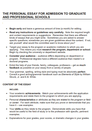 Admission to Graduate and Professional Svhools Personal Essay